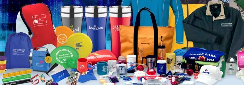 Assortment of promotional cups, pens, bags, jackets, toys, hats, etc