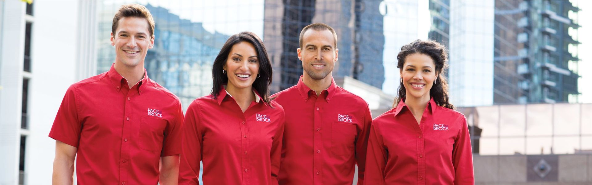Business work wear red shirts embroidered left chest